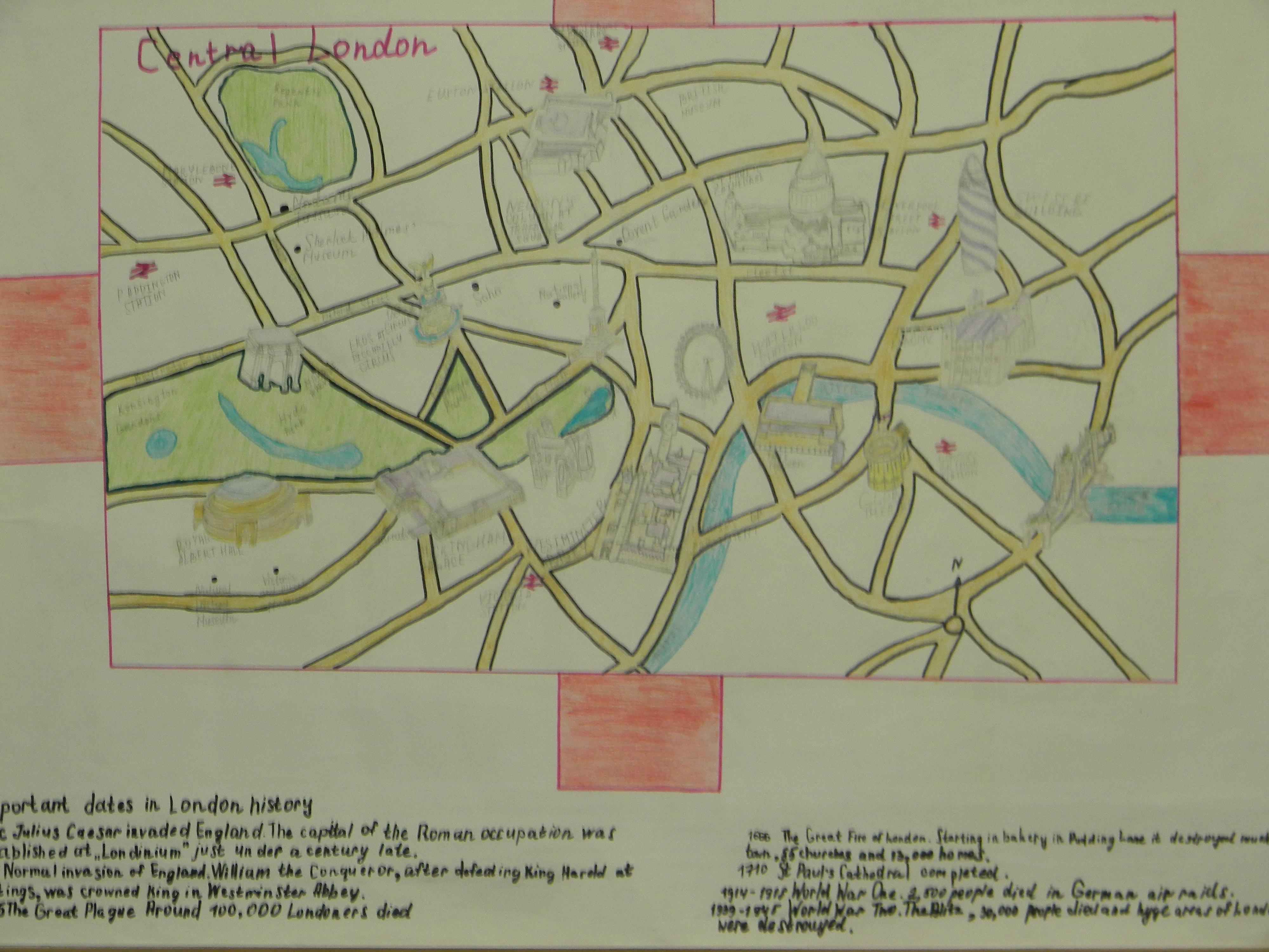 Маршрутная карта для виртуального путешествия по  Лондону от учащихся 9 в класса